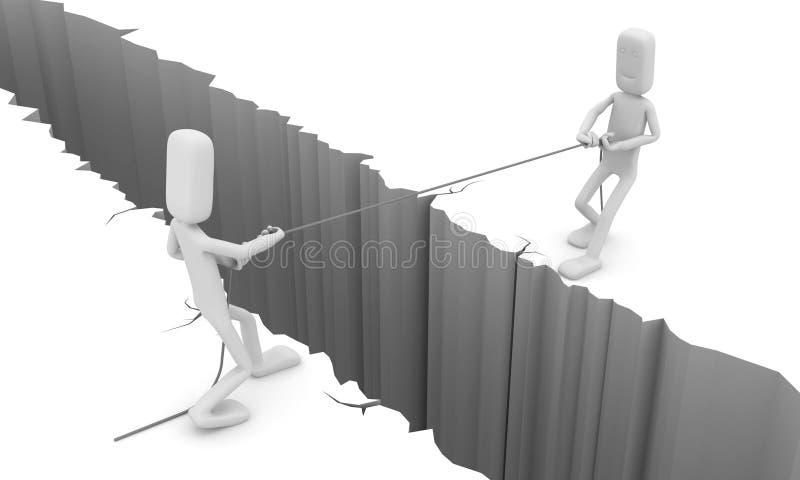 Gli uomini tirano una corda illustrazione di stock