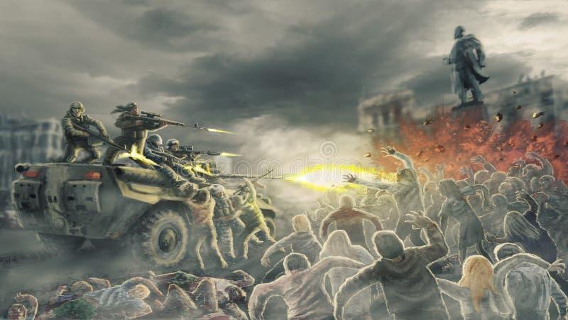 Gli zombie dell'orda attaccano i soldati di fucilazione sulla via della città morta illustrazione vettoriale