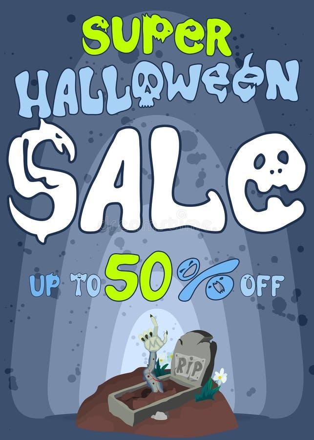 Gli zombie di Halloween di vendita non invita da una tomba aperta illustrazione di stock