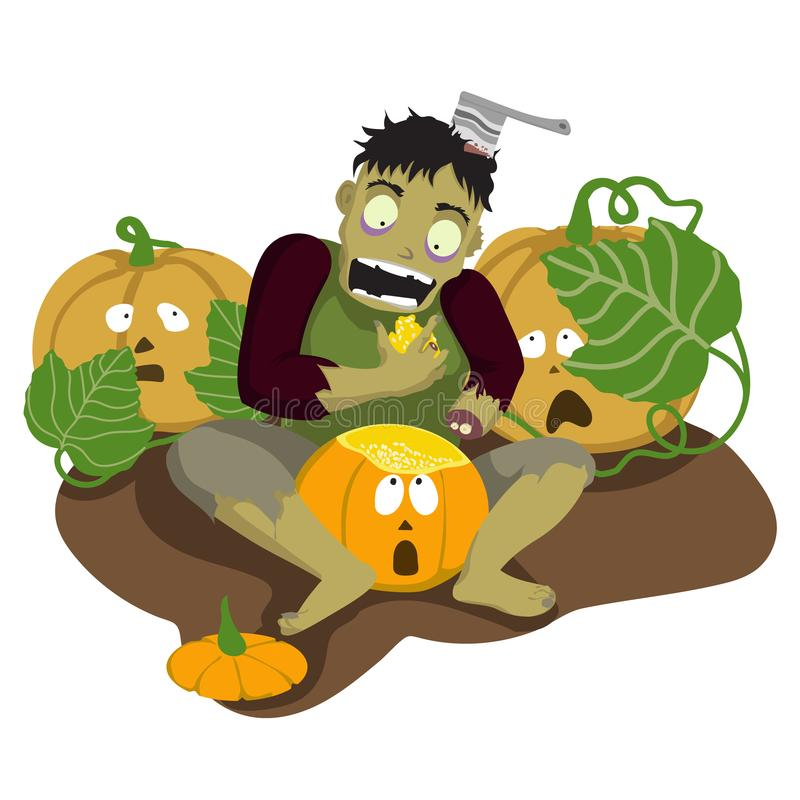 Gli zombie mangiano la zucca Halloween illustrazione di stock