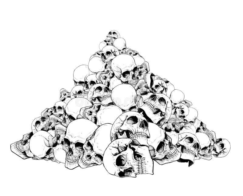Glidbana av mänskliga skallar royaltyfri illustrationer