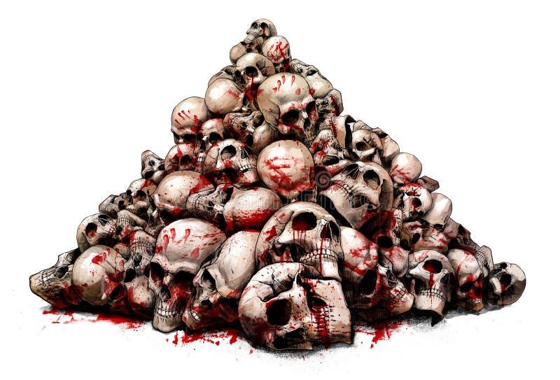Glidbana av mänskliga skallar stock illustrationer