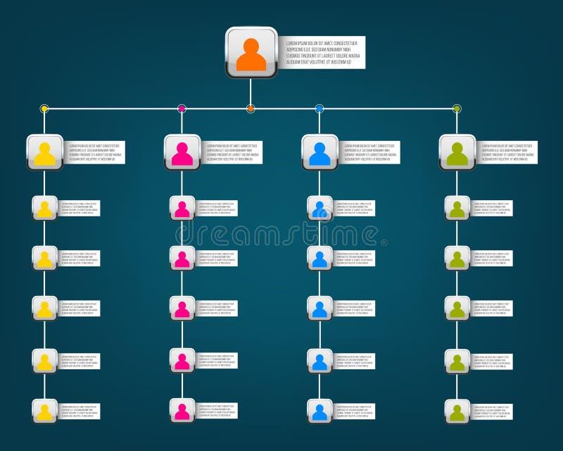 Glidbana för organisatoriskt diagram för idérik modern stilillustration för vektor företags av isolerat på bakgrund Affärsarbetsf royaltyfri illustrationer