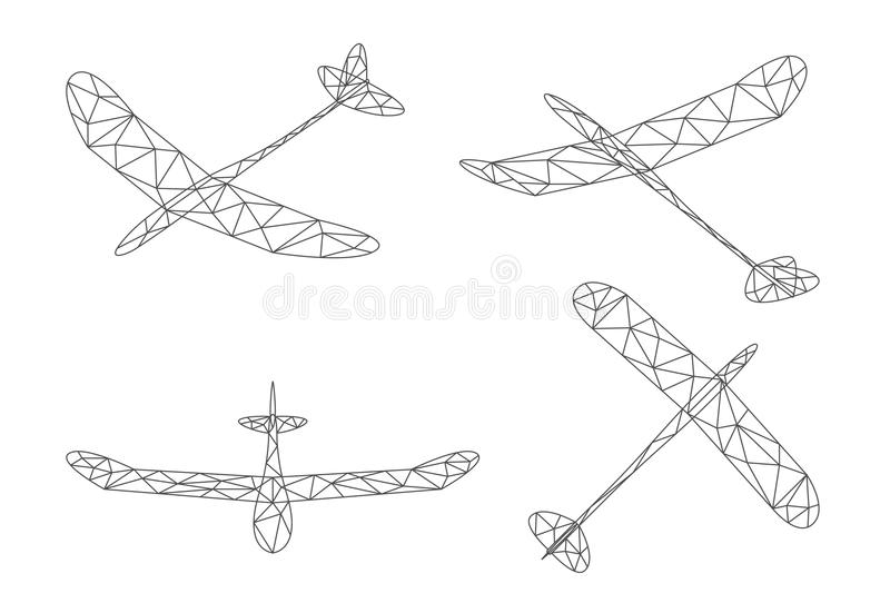 Glider plane and cloud wireframe low polygon set, Editable stroke design illustration. Isolated on white background, vector eps 10 stock illustration