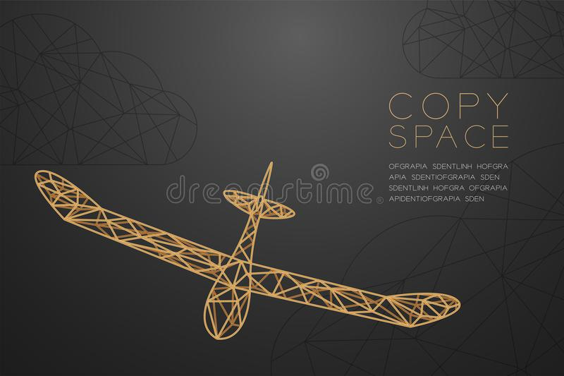 Glider plane gold color and cloud wireframe Low polygon frame structure, business travel concept design illustration. Isolated on black gradient background with vector illustration