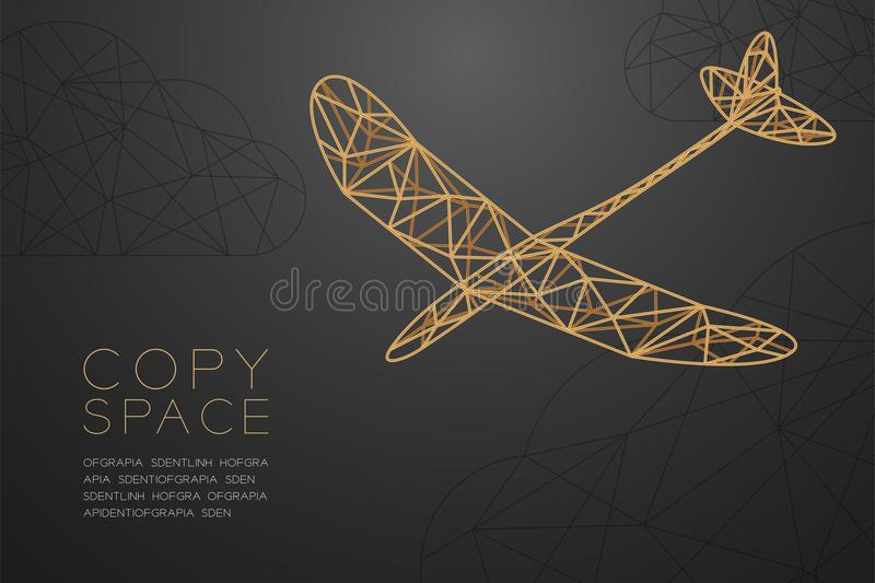 Glider plane gold color and cloud wireframe Low polygon frame structure, business travel concept design illustration. Isolated on black gradient background with royalty free illustration