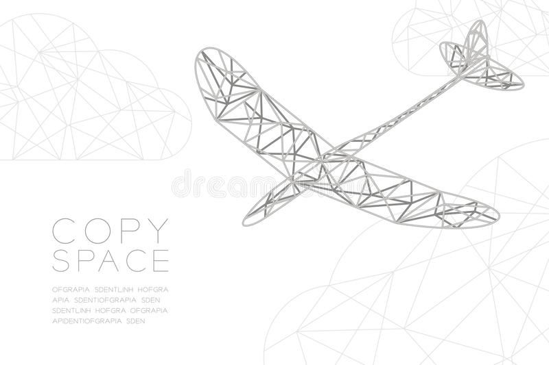 Glider plane silver color and cloud wireframe Low polygon frame structure, business travel concept design illustration. Isolated on black gradient background royalty free illustration