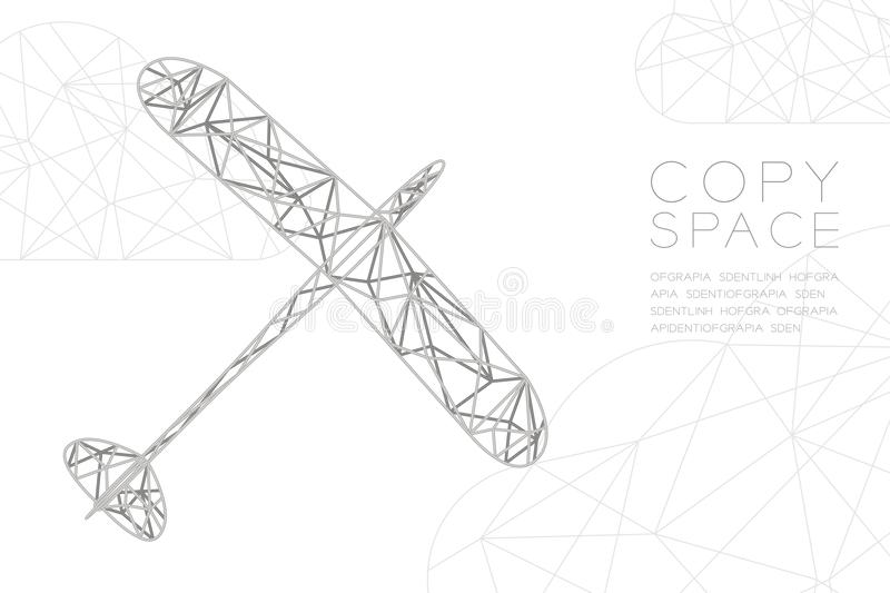 Glider plane silver color and cloud wireframe Low polygon frame structure, business travel concept design illustration. Isolated on black gradient background stock illustration