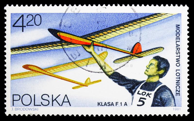 Gliders, Models serie, circa 1981. MOSCOW, RUSSIA - SEPTEMBER 15, 2018: A stamp printed in Poland shows Gliders, Models serie, circa 1981 stock photography