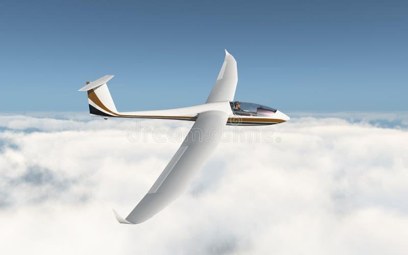 Glidflygplan över molnen vektor illustrationer