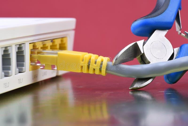 Gliedern Sie Network Connection, Ausfall und Problem mit Hauptnetz auf stockfoto