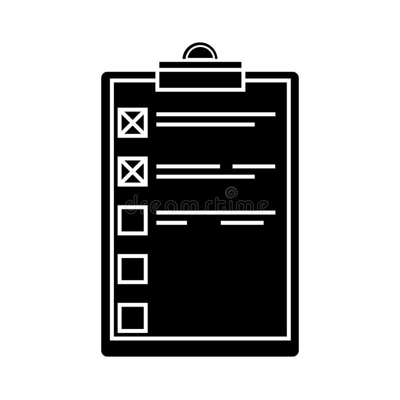 Glif robić listy lub planowania ikonie Prosta stylowa wektorowa ilustracja odizolowywająca royalty ilustracja