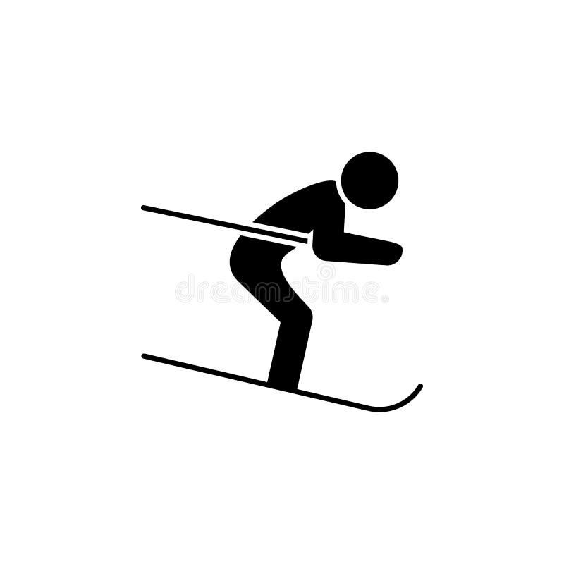 Glifo sottile dell'icona di sci alpino per il web ed il cellulare, progettazione piana minimalistic moderna royalty illustrazione gratis
