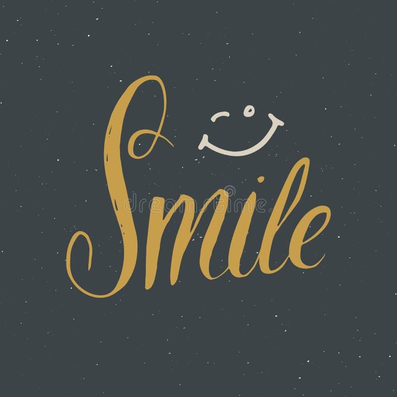 Glimlach die met de hand geschreven teken, Hand van letters voorzien getrokken grunge kalligrafische tekst Vector illustratie vector illustratie