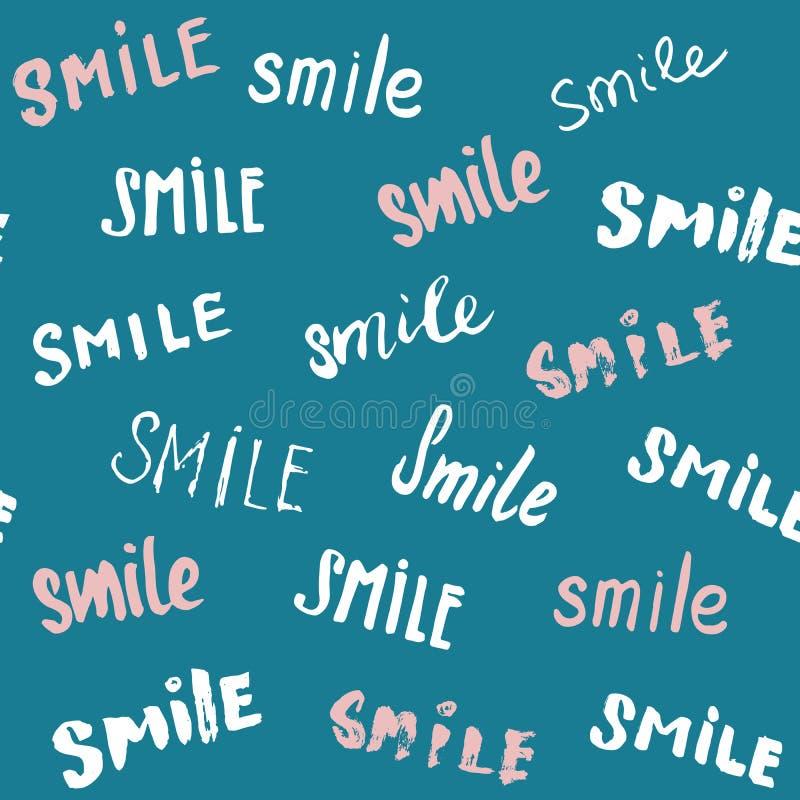 Glimlach die naadloos patroon van letters voorzien Getrokken de hand schetste kalligrafische tekens, grunge geweven retro kenteke stock illustratie