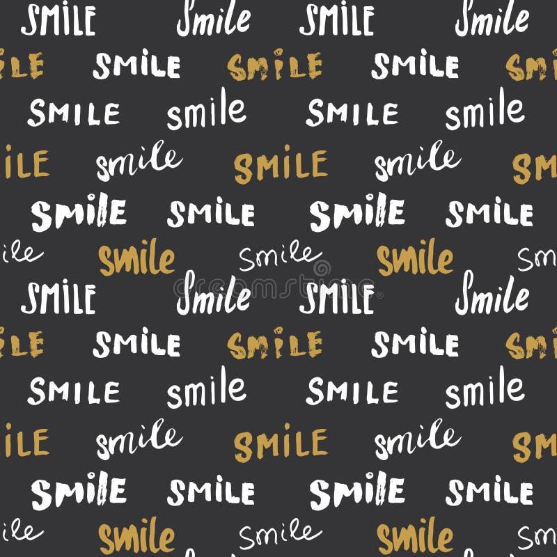 Glimlach die naadloos patroon van letters voorzien Getrokken de hand schetste kalligrafische tekens, grunge geweven retro kenteke vector illustratie