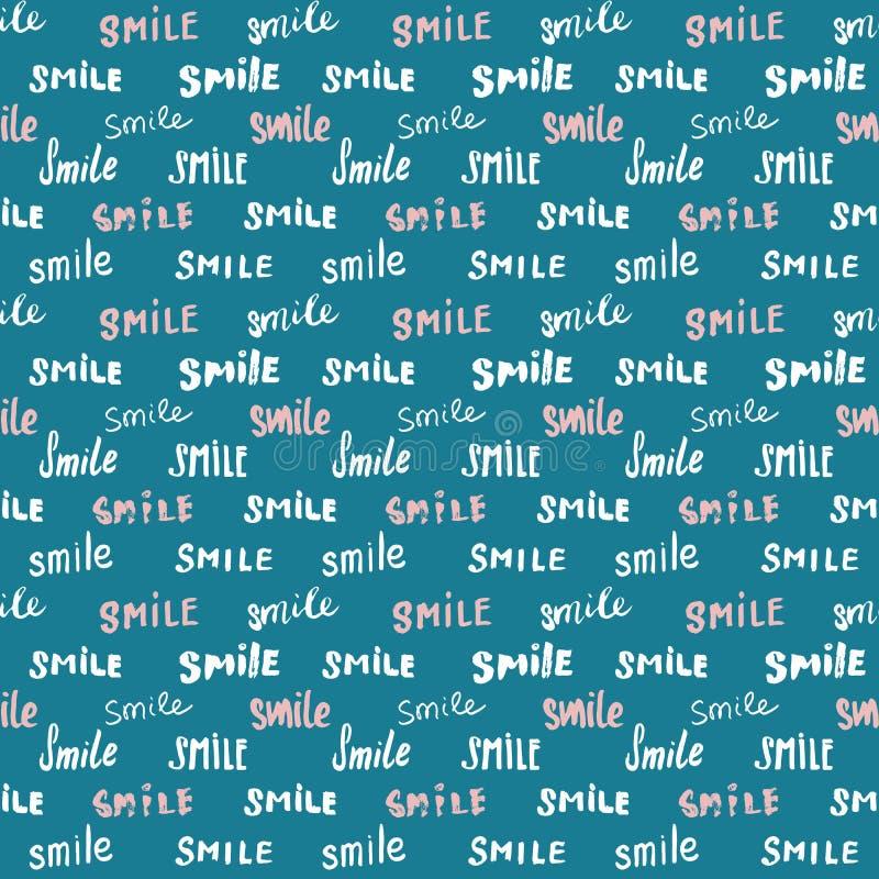 Glimlach die naadloos patroon van letters voorzien Getrokken de hand schetste kalligrafische tekens, grunge geweven retro kenteke royalty-vrije illustratie