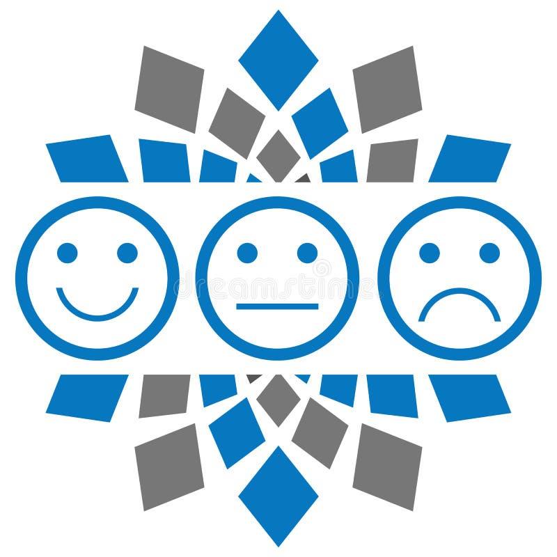 Glimlach Droevig Neutraal Blauw Grey Circular stock illustratie