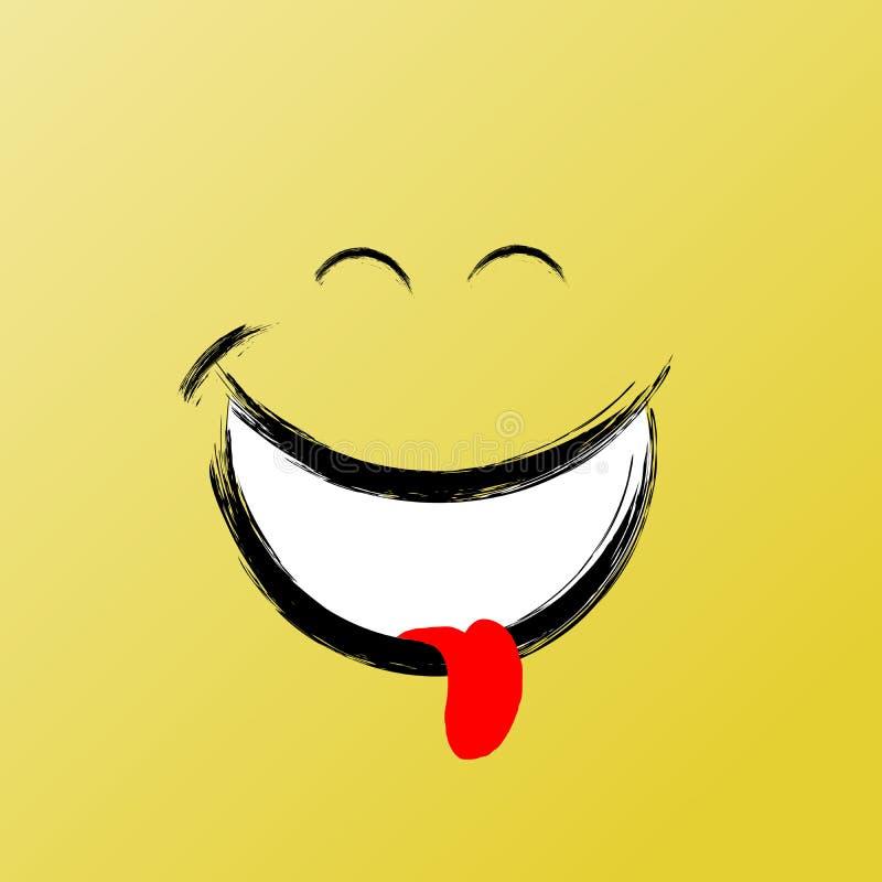 Glimlach, het Grappige Pictogram van de Borstel Grafische, Vectorglimlach Inspirational en Motieven Grafische Illustratie vector illustratie