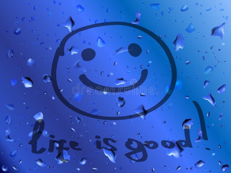 Glimlach. Het leven is goed. Inschrijving op nat glas
