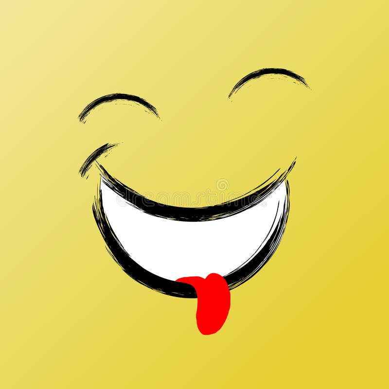 Glimlach met Gesloten Ogen, het Grappige Pictogram van de Borstel Grafische, Vectorglimlach Inspirational en Motieven Grafische I royalty-vrije illustratie