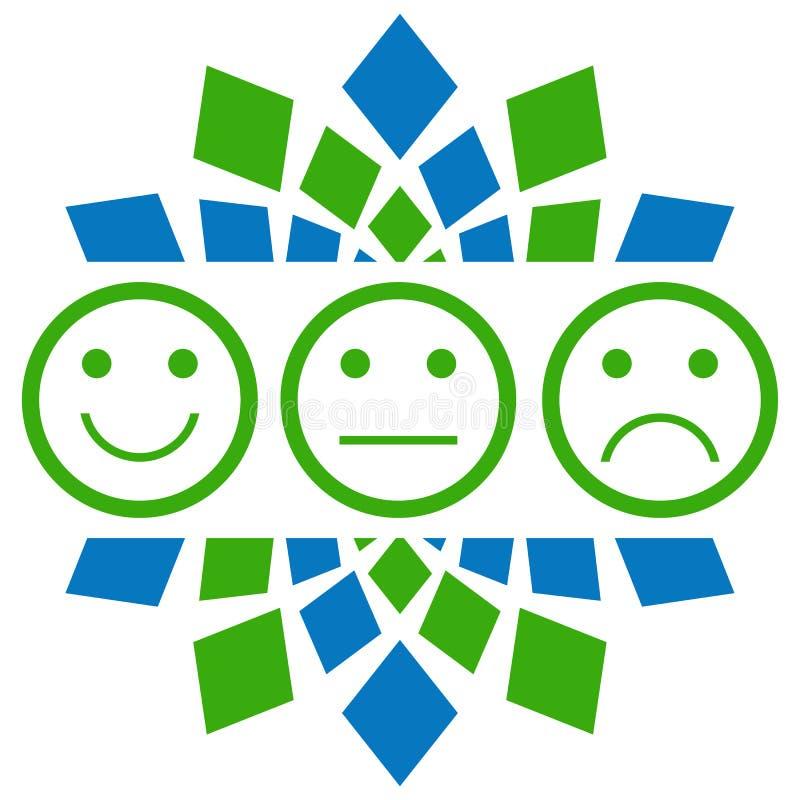 Glimlach Neutraal Droevig Groenachtig blauw Rondschrijven stock illustratie