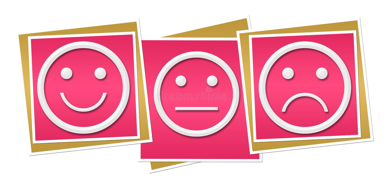 Glimlach Neutrale Droevige Roze Blokken royalty-vrije illustratie