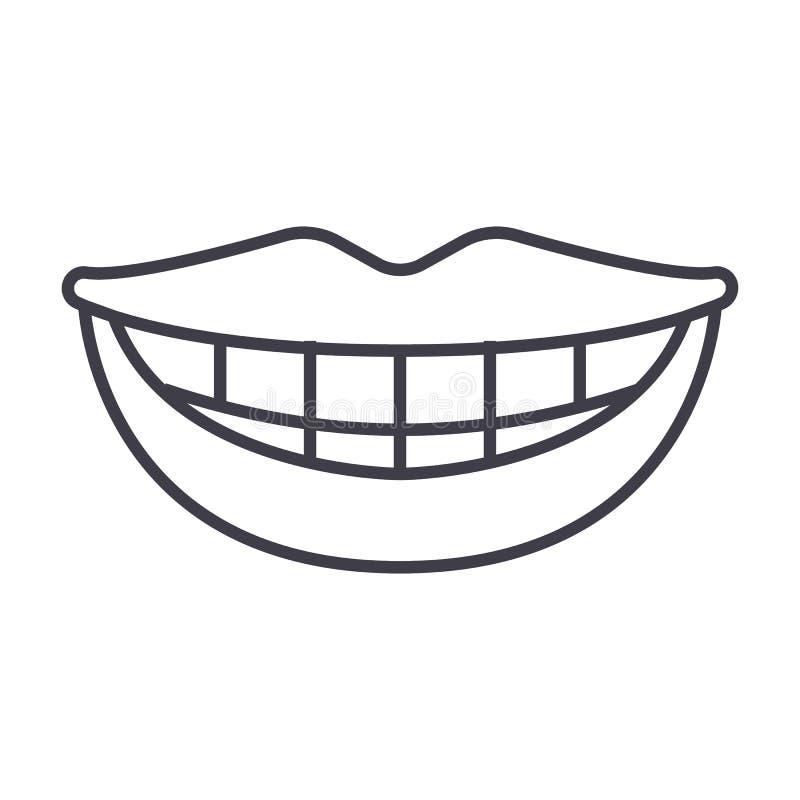 Glimlach, tanden, pictogram van de mond het vectorlijn, teken, illustratie op achtergrond, editable slagen stock illustratie