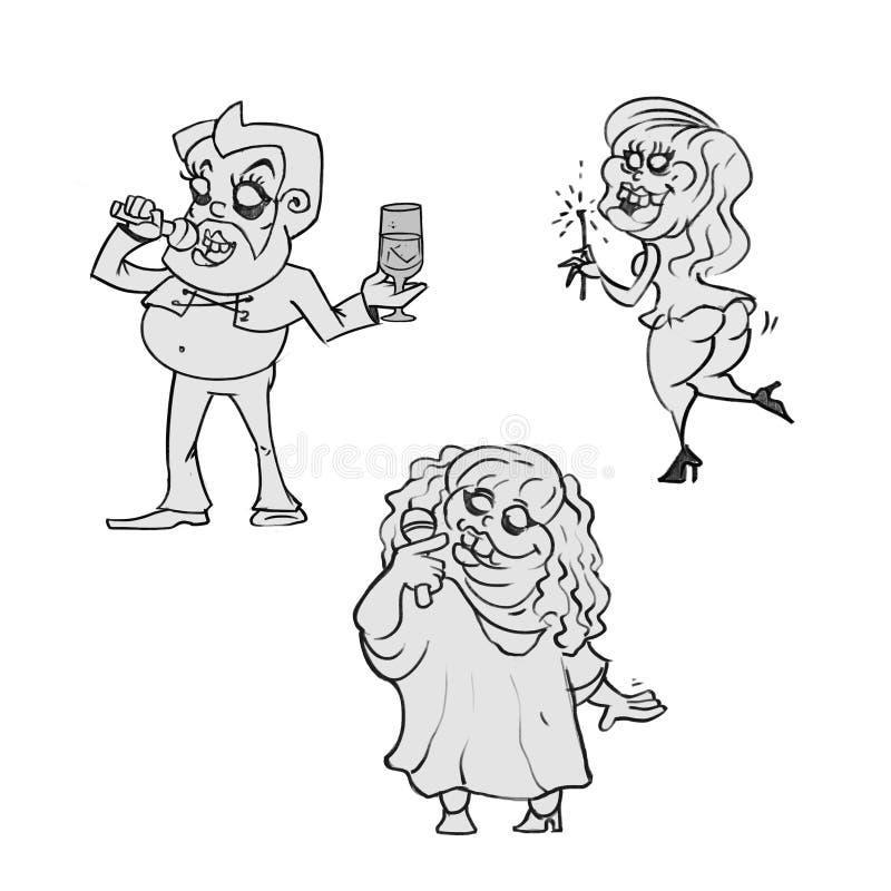 Glimlach van de zanger de dwaze karaoke royalty-vrije illustratie