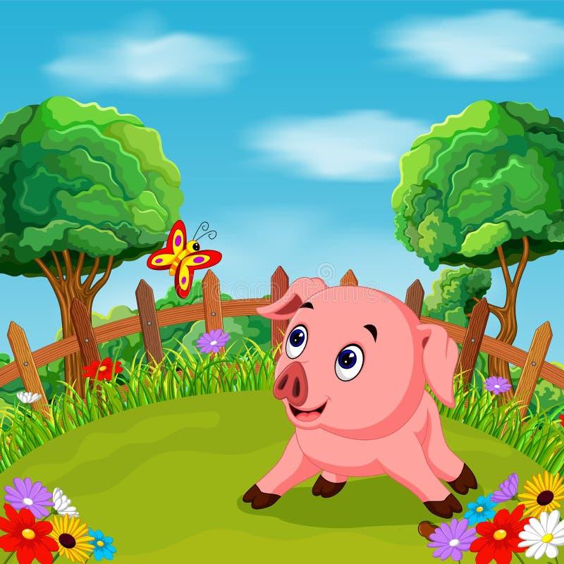Glimlach van het beeldverhaal de gelukkige varken in het landbouwbedrijf vector illustratie