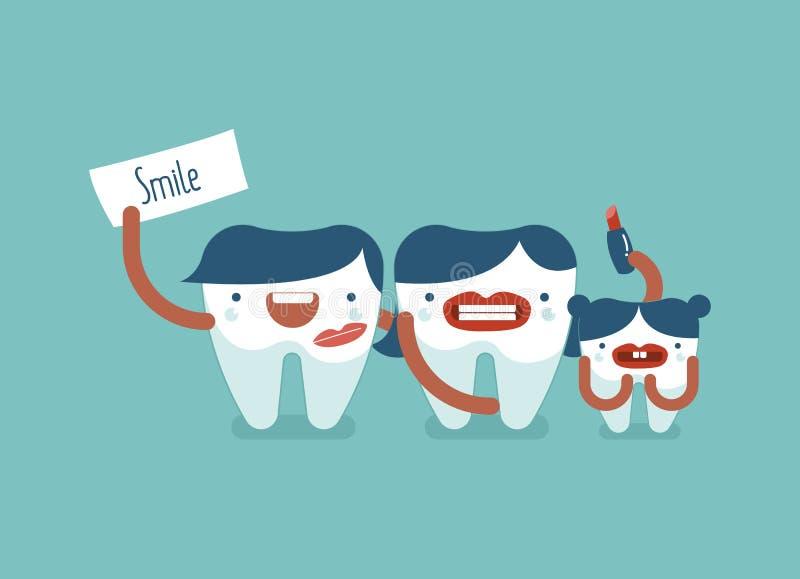 Glimlach van tandfamilie stock illustratie