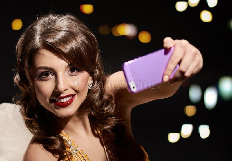 Glimlachdame selfie royalty-vrije stock foto's