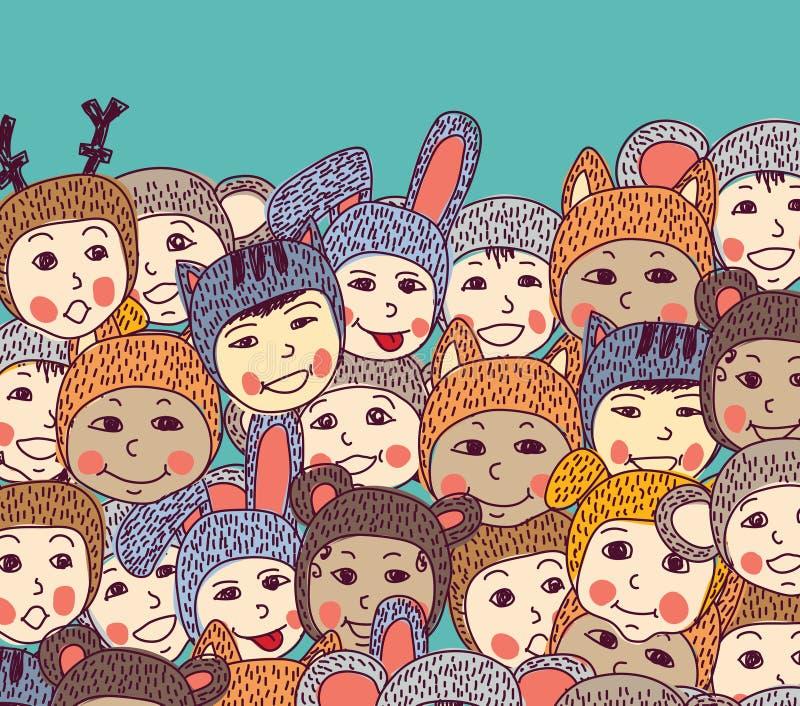 Glimlachen en de hemel van de menigte het gelukkige baby vector illustratie