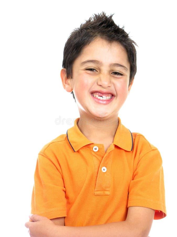 Glimlachen van de jongen geïsoleerds over een wit royalty-vrije stock foto