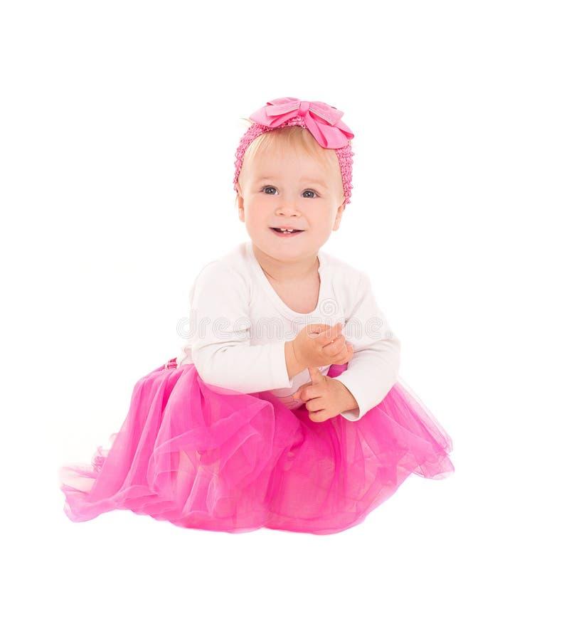 Glimlachend babymeisje in roze tutu royalty-vrije stock foto