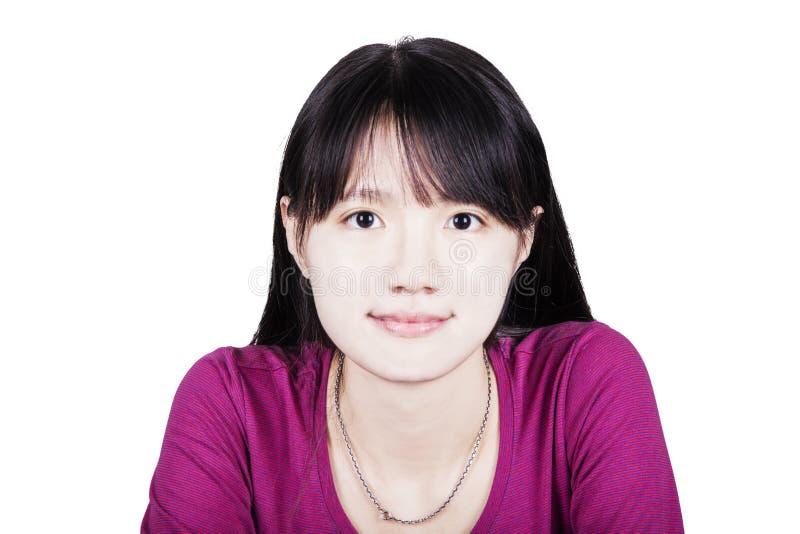 Glimlachend blonde meisje Portret van gelukkige vrolijke mooie jongelui stock foto