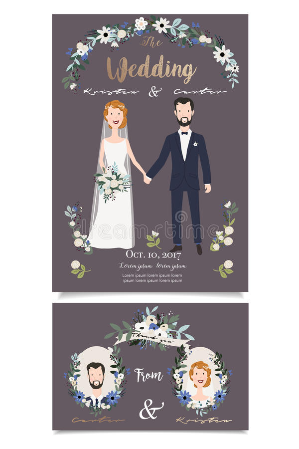 Glimlachend bruids paar, die handen houden onder huwelijks bloemenboog vector illustratie