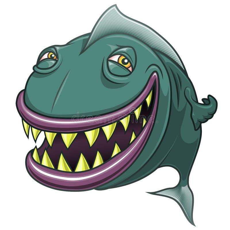Glimlachend gelukkige die beeldverhaalvissen op wit worden geïsoleerd stock illustratie