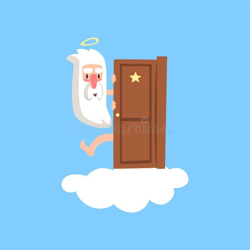 Glimlachend godskarakter die op pluizige witte wolk uit van achter de deur gluren Godsdienstig concept voor kaart of boek vlak vector illustratie