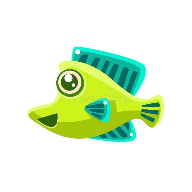 Glimlachend Groen Fantastisch het Beeldverhaalkarakter van Aquarium Tropisch Vissen royalty-vrije illustratie