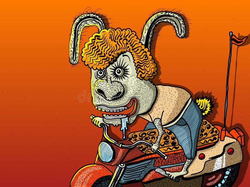 Glimlachend het konijnkarakter van de krabbelillustratie op motorfiets of fiets op oranje achtergrond De flessenetiket van het Cr stock afbeelding
