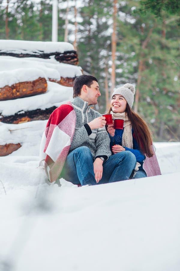 Glimlachend jong paar die met koppen in sneeuwpark zitten Drinkende hete dranken, die pret hebben royalty-vrije stock foto's
