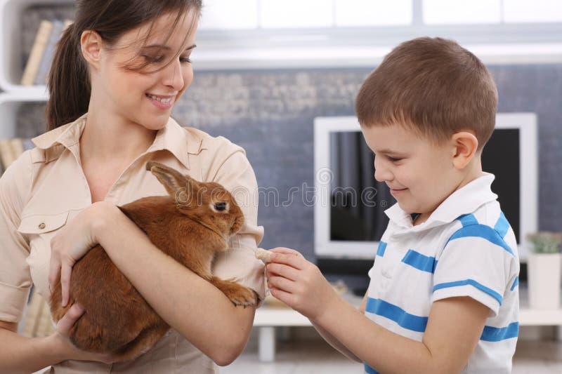 Glimlachend jongens voedend konijn royalty-vrije stock fotografie