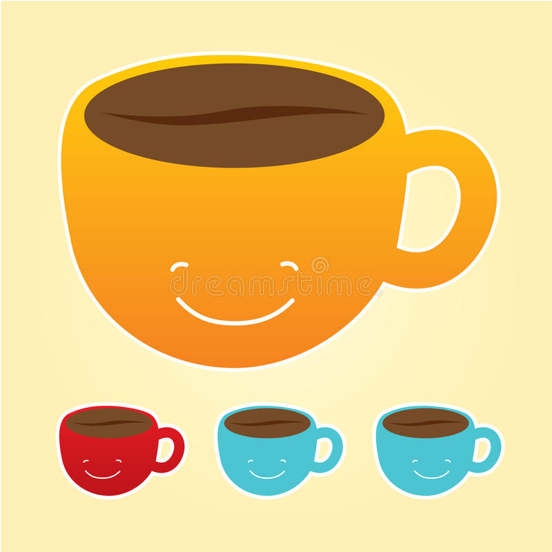 Glimlachend kop geplaatste koffiepictogrammen stock illustratie