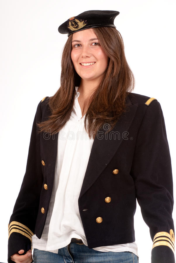Glimlachend meisje met eenvormige ambtenaar royalty-vrije stock afbeeldingen