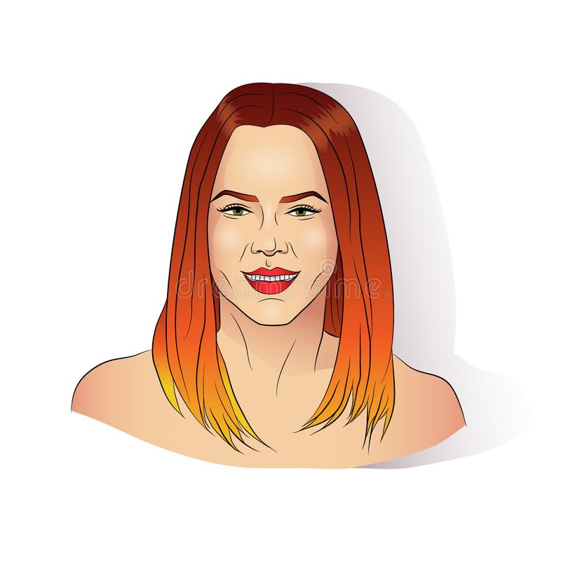 Glimlachend meisje met geverft haar met gradiënteffect royalty-vrije illustratie