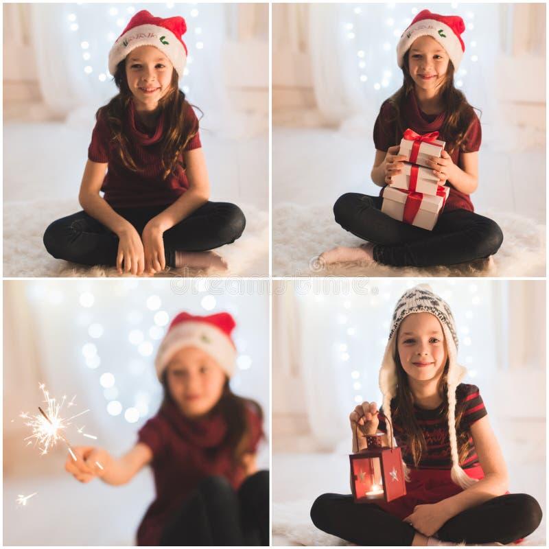 Glimlachend meisje met giftdozen en sterretje stock foto's
