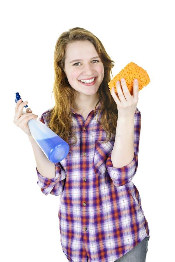Glimlachend meisje met het schoonmaken van levering royalty-vrije stock foto's