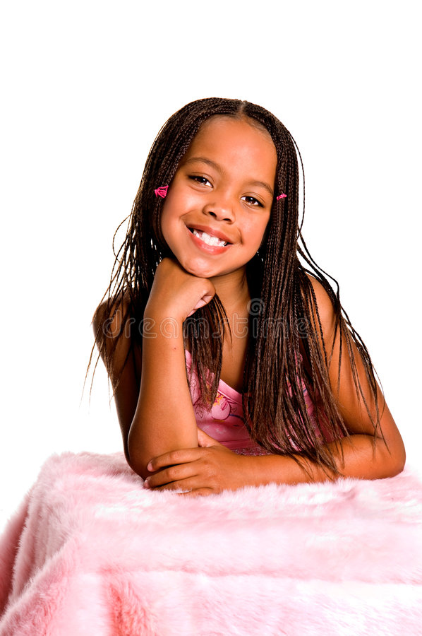 Glimlachend Meisje met Vlechten stock afbeeldingen