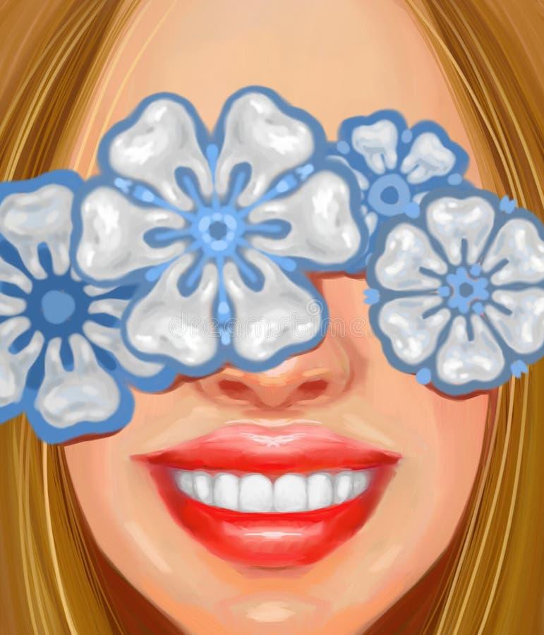 Glimlachend meisje met witte tanden en ornamenten in de vorm van tanden in de stijl van olieverfschilderij royalty-vrije illustratie